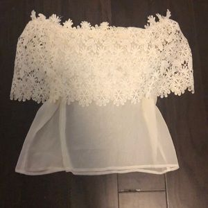 Tops - Petite white lace top